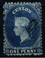 Изображение Цейлон 1863-1866 гг. Gb# 49 • 1d. • (перф. - 12,5 • в.з. - СС) • Королева Виктория • Used XF ( кат.- £10 )