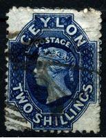 Изображение Цейлон 1867-1870 гг. Gb# 72 • 2 sh. • (перф. - 12,5 • в.з. - СС) • Королева Виктория • Used XF ( кат.- £25 )