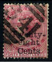 Изображение Цейлон 1885 г. Gb# 168 • 28 на 48 c. • Королева Виктория • надпечатка нов. номинала • стандарт • Used XF ( кат.- £12 )