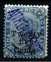 Изображение Цейлон 1885 г. Gb# 167 • 25 на 32 c. • Королева Виктория • надпечатка нов. номинала • стандарт • Used VF ( кат.- £8 )