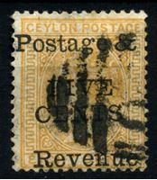 Изображение Цейлон 1885 г. Gb# 179 • 5 на 8 c. • Королева Виктория • надпечатка нов. номинала • стандарт • Used VF ( кат.- £12 )