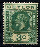 Изображение Цейлон 1921-1932 гг. Gb# 339 • 3 c. • Георг V • стандарт • MH OG VF ( кат.- £5 )