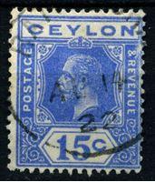 Изображение Цейлон 1921-1932 гг. Gb# 348 • 15 c. • Георг V • стандарт • Used XF ( кат.- £17 )