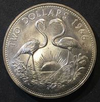 Bild von Багамы 1966 г. • KM# 9 • 2 доллара • серебро • фламинго • регулярный выпуск • MS BU