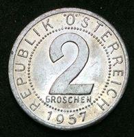 Image de Австрия 1957 г. KM# 2876 • 2 гроша • регулярный выпуск • MS BU люкс! ( кат.- $3,00 )