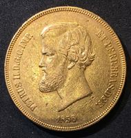 Изображение Бразилия 1856 г. • KM# 468 • 20000 рейс • золото • король Педро II • герб • регулярный выпуск • XF-AU