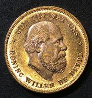 Изображение Нидерланды 1875 г. • KM# 105 • 10 гульденов • золото • год - тип • король Виллем III • герб • регулярный выпуск • MS BU
