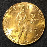 Изображение Нидерланды 1927 г. • KM# 83.1 • 1 дукат • золото • кирасир • регулярный выпуск • MS BU люкс!