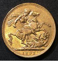 Изображение Великобритания 1893 г. • KM# 785 • соверен • золото • королева Виктория • св. Георгий • регулярный выпуск • AU+