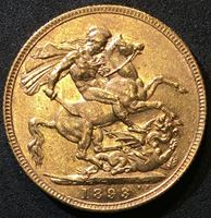 Изображение Великобритания 1893 г. • KM# 785 • соверен • золото • королева Виктория • св. Георгий • регулярный выпуск • BU-
