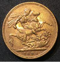 Image de Австралия 1894 г. M (Мельбурн) • KM# 13 • соверен • королева Виктория • св. Георгий • регулярный выпуск • AU