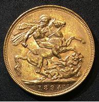 Изображение Великобритания 1894 г. • KM# 785 • соверен • золото • королева Виктория • св. Георгий • регулярный выпуск • BU-