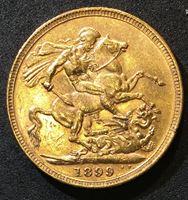 Image de Австралия 1899 г. M (Мельбурн) • KM# 13 • соверен • королева Виктория • св. Георгий • регулярный выпуск • MS BU