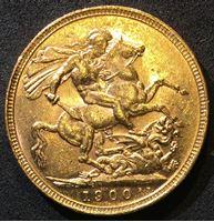 Изображение Австралия 1900 г. M (Мельбурн) • KM# 13 • соверен • королева Виктория • св. Георгий • регулярный выпуск • MS BU