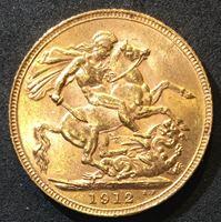 Изображение Великобритания 1912 г. • KM# 820 • соверен • золото • Георг V • св. Георгий • регулярный выпуск • MS BU люкс!