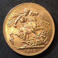 Изображение Великобритания 1913 г. • KM# 820 • соверен • золото • Георг V • св. Георгий • регулярный выпуск • MS BU люкс!