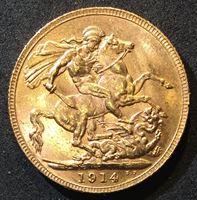 Изображение Австралия 1914 г. P (Перт) • KM# 29 • соверен • золото • Георг V • св. Георгий • регулярный выпуск • MS BU