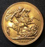 Изображение Великобритания 1915 г. • KM# 820 • соверен • золото • Георг V • св. Георгий • регулярный выпуск • MS BU люкс!