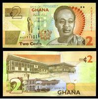 Изображение Гана 2010 г. P# 37A • 2 цеди • Первый президент Ганы Кваме Нкрума • регулярный выпуск • UNC пресс