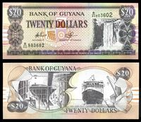 Изображение Гайана 1996 г. (2009) P# 30e • 20 долларов • водопад • паром • регулярный выпуск • UNC пресс