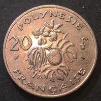 """Изображение Французская Полинезия 1970 г. • KM# 6 • 20 франков • мадам """"Республика"""" • регулярный выпуск • BU"""
