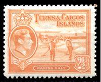 Изображение Теркс и Кайкос 1938-45 гг. Gb# 199b • 2 ½ d. • добыча соли • (оранжевая) • MLH OG XF ( кат.- £5 )