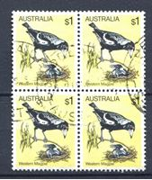 Image de Австралия 1980 г. SC# 739 • 1 $ • птицы • западная сорока • Used VF • кв.блок ( кат.- $3 )