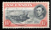 Изображение Вознесения о-в 1938-53 гг. Gb# 40b • 1 1/2d. • Георг VI основной выпуск • (оранжевая, перф. - 13) • Торговый пирс • Used XF ( кат.- £6,5 )