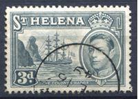 Изображение Святой Елены о-в 1938-44 гг. Gb# 135a • 3 d. • Георг VI основной выпуск • парусный фрегат • Used XF