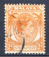Image de Сингапур 1949-52 гг. Gb# 2 • 2 c. • Георг VI • стандарт • Used XF ( кат.- £1 )
