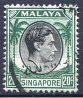 Image de Сингапур 1949-52 гг. Gb# 9 • 20 c. • Георг VI • стандарт • Used XF ( кат.- £1 )