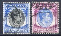 Bild von Сингапур 1949-52 гг. Gb# 12,13 • 50 c. и 1$ • Георг VI • стандарт • Used XF ( кат.- £5 )