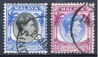 Picture of Сингапур 1949-52 гг. Gb# 12,13 • 50 c. и 1$ • Георг VI • стандарт • Used XF ( кат.- £5 )