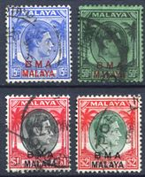 Picture of Малайя Британская Администрация 1945-58 гг. Gb# 12,14-6 • 15,50 c. 1 и 2$ • Георг VI • стандарт • Used XF ( кат.- £5,5 )