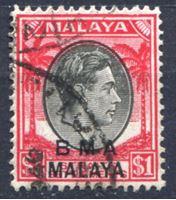 Изображение Малайя Британская Администрация 1945-58 гг. Gb# 15 • 1 $ • Георг VI • стандарт • Used XF