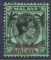 Изображение Малайя Британская Администрация 1945-58 гг. Gb# 14 • 50 c. • Георг VI • стандарт • Used XF ( кат.- £3 )