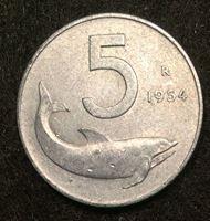 Image de Италия 1954 г. • R (Рим) KM# 92 • 5 лир • дельфин • регулярный выпуск • BU- ( кат.- $3,00 )