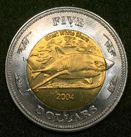 Image de Кокосовые острова 2004 г. • 5 долларов • Большая белая акула • пальма • регулярный выпуск • BU