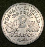 Bild von Франция 1943 г. KM# 904.1 • 2 франка • (правительство Виши) • регулярный выпуск • BU- ( кат.- $20,00 )