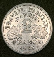 Picture of Франция 1943 г. KM# 904.1 • 2 франка • (правительство Виши) • регулярный выпуск • BU- ( кат.- $20,00 )