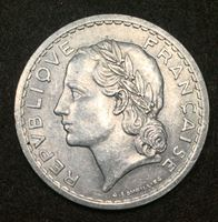 Picture of Франция 1946 г. KM# 888b.1 • 5 франков • регулярный выпуск • AU+ ( кат.- $6,00 )
