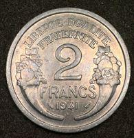 Picture of Франция 1941 г. B KM# 886a.1 • 2 франка • первый год чеканки типа • регулярный выпуск • MS BU