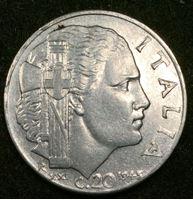 Image de Италия 1943 г. KM# 75b • 20 чентезимо • (магнитная) • регулярный выпуск • AU