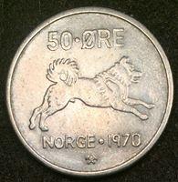 Image de Норвегия 1970 г. KM# 408 • 50 эре • малотиражный год! • Улаф V • собака • регулярный выпуск • AU+ ( кат.- $6,00 )