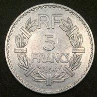 Image de Франция 1950 г. KM# 888b.1 • 5 франков • регулярный выпуск • BU-