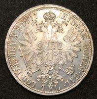 Изображение Австрия 1877 г. KM# 2222 • 1 флорин • император Франц Иосиф • регулярный выпуск • MS BU люкс!