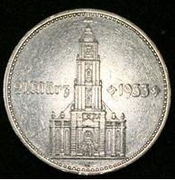 """Picture of Германия 3-й рейх 1934 г. • G (Карлсруэ) KM# 81 • 2 рейхсмарки • """"подписная кирха"""" (серебро) • символ Рейха • Кирха с датой """"дня Потсдама"""" • регулярный выпуск • XF ( кат.- $45,00 )"""