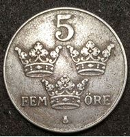 Изображение Швеция 1944 г. • KM# 812 • 5 эре • королевская монограмма • регулярный выпуск • XF ( кат.- $4,00 )