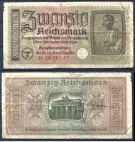"""Изображение Германия 3-й рейх 1940-45 гг. P# R140 • 20 рейхсмарок • для """"Восточных земель"""" • оккупационный выпуск • F-"""