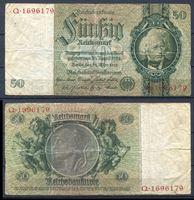 Bild von Германия 1933 г. P# 182 • 50 рейхсмарок • Давид Ганземан • регулярный выпуск • F+ ( кат. - $12 )